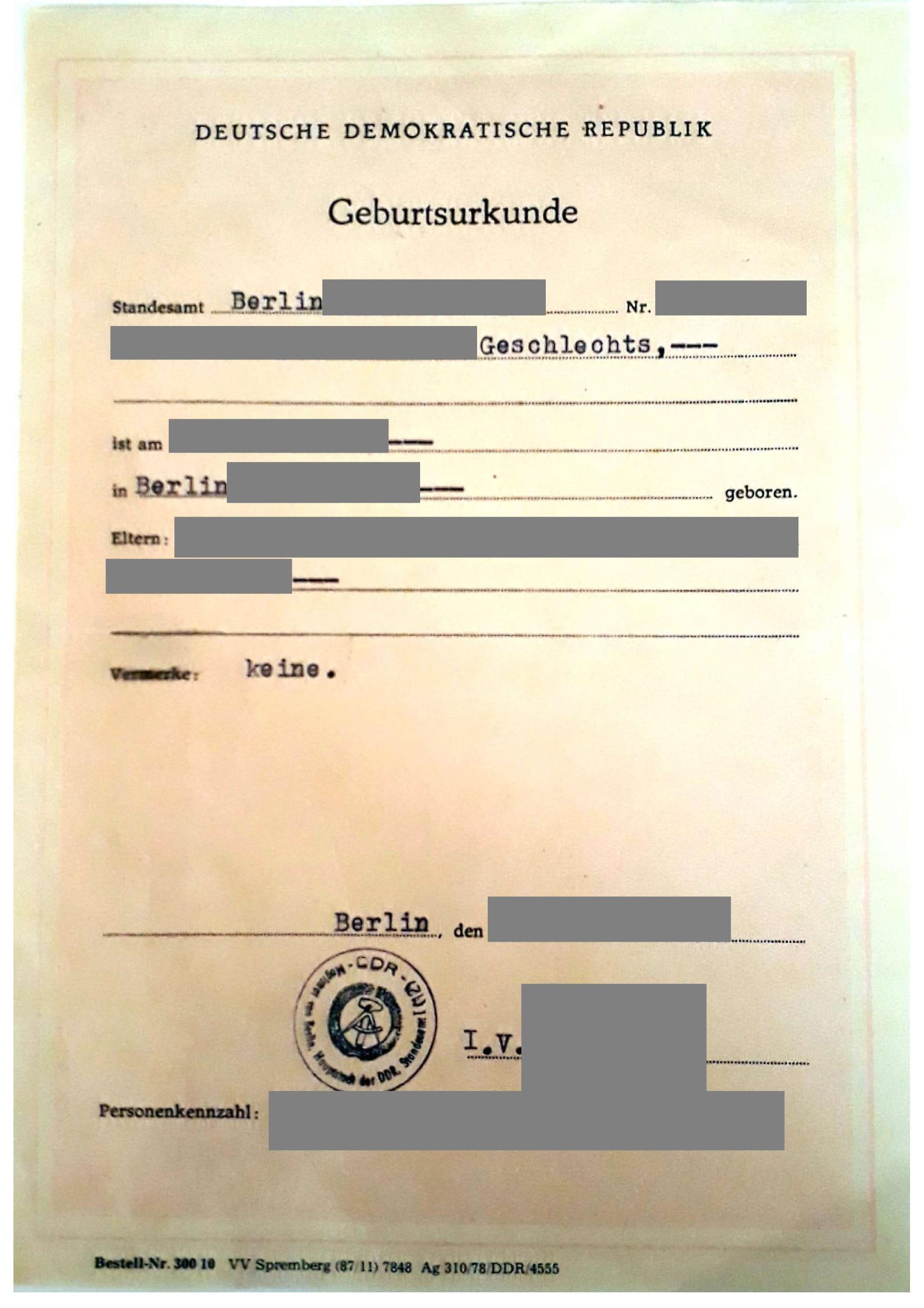 Beglaubigte Übersetzung Geburtsurkunde DDR