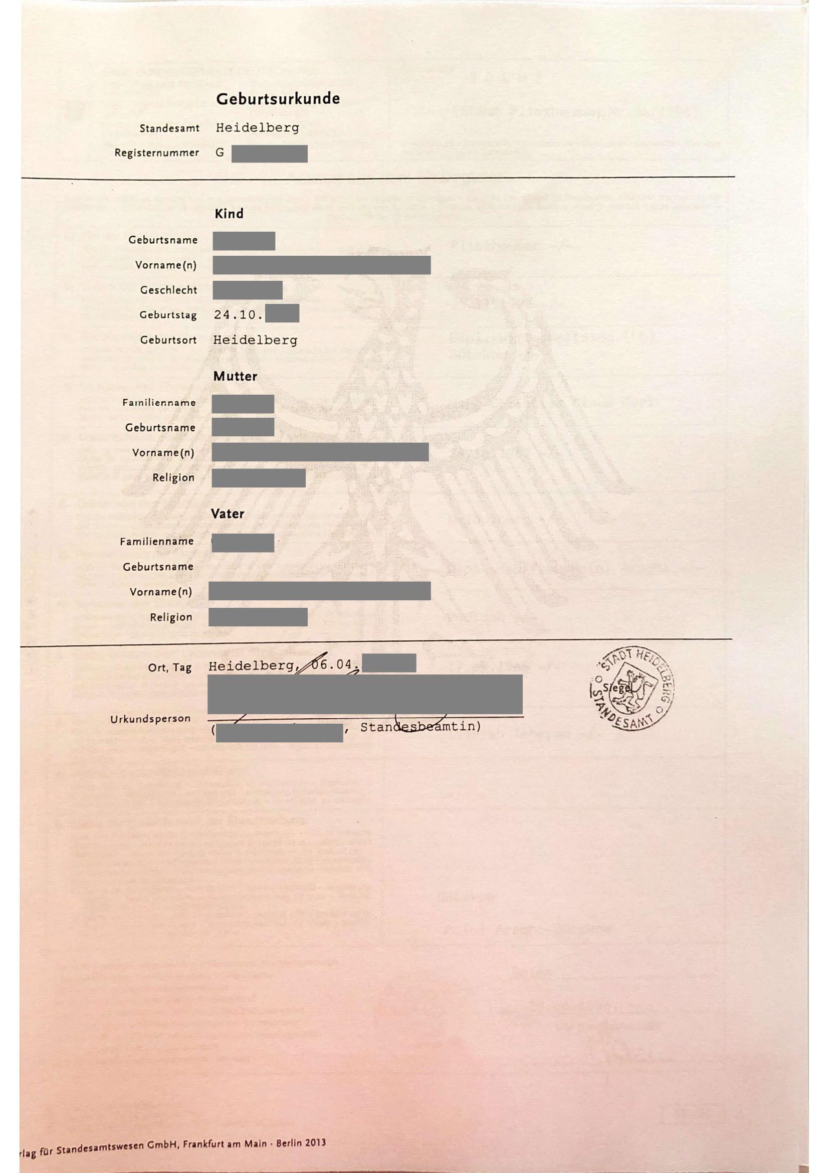 Beglaubigte Übersetzung Geburtsurkunde DE-1