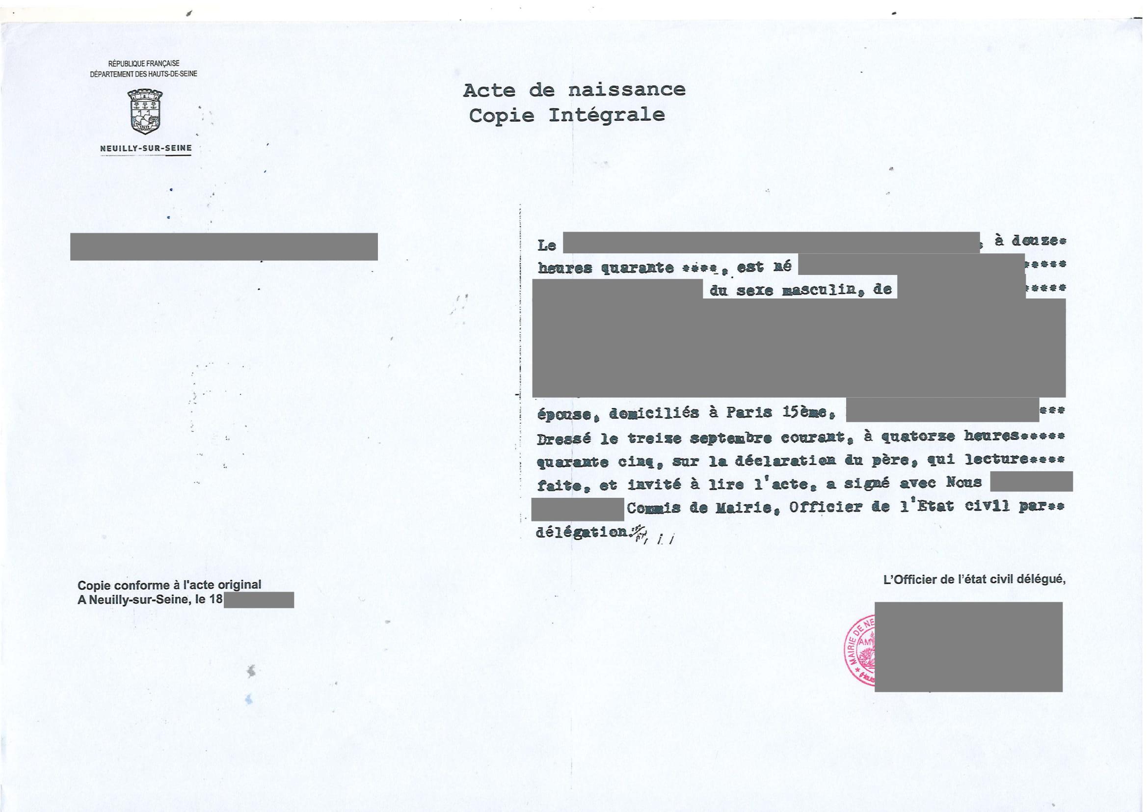 Traduction certifiée acte de naissance copie intégrale-1
