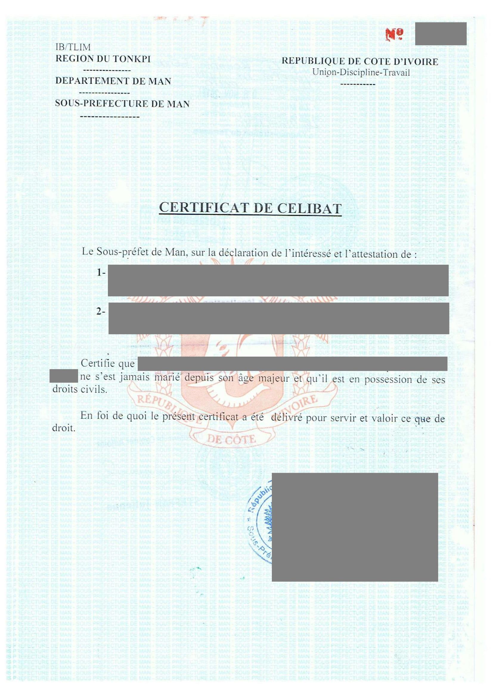 Traduction certifiée certificat de célibat-1