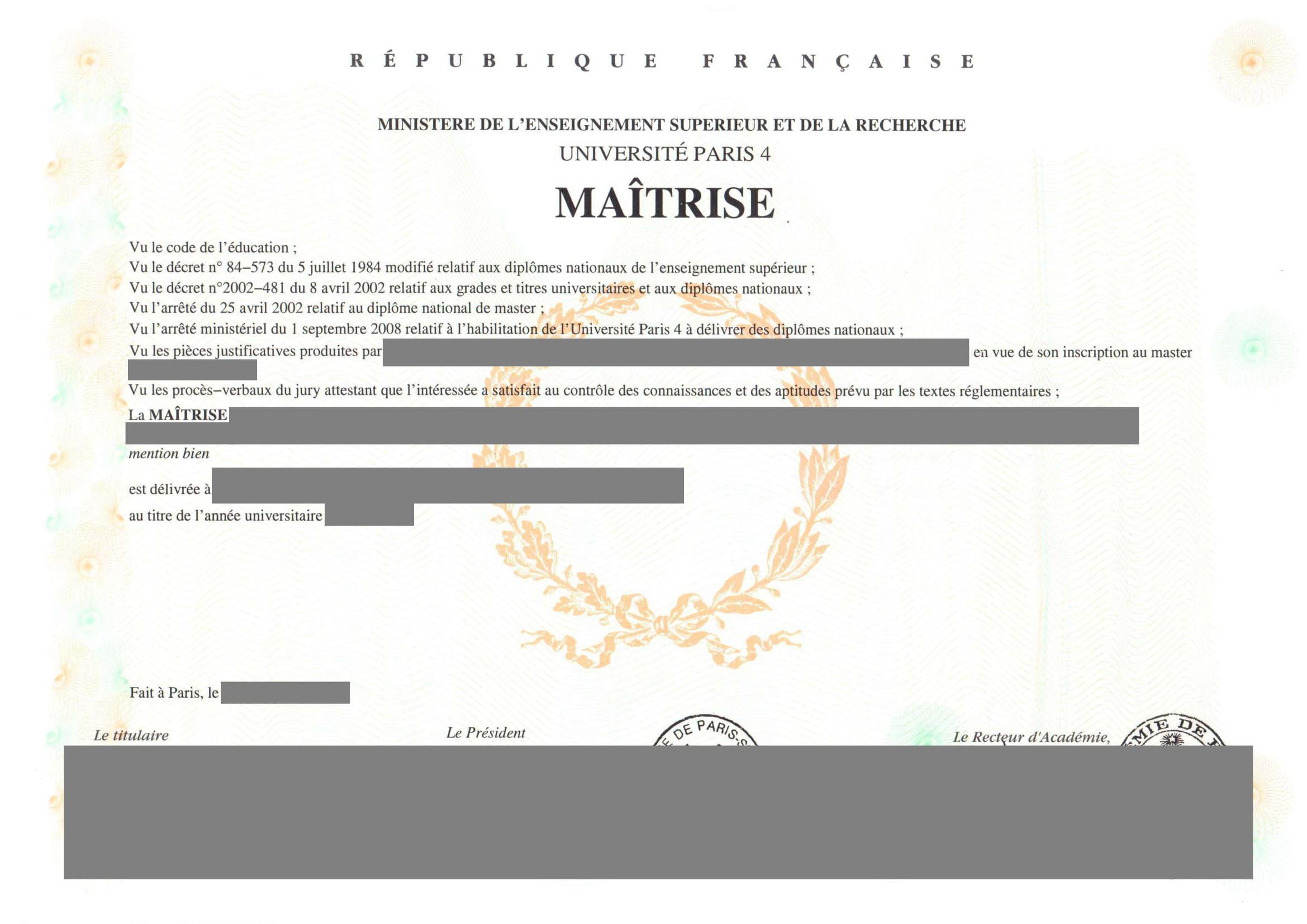 Traduction certifiée diplôme de Maîtrise-1
