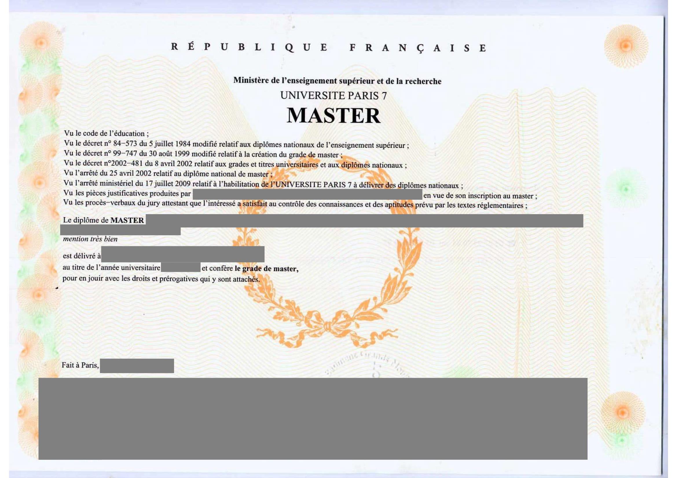 Traduction certifiée diplôme de Master 2-1